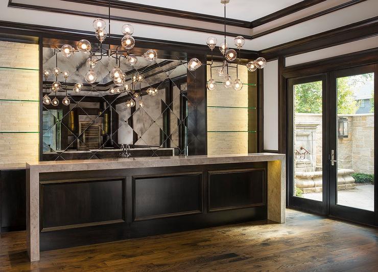 Espresso Stained Bar Wainscoting  Contemporary  Living Room