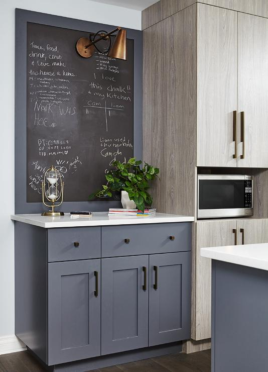 black kitchen cabinet pulls mid century table gray framed chalkboard - contemporary