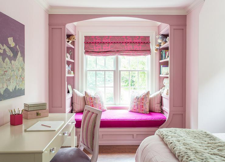 Pink Window Seat Nook with Wainscoting  Transitional  Girls Room