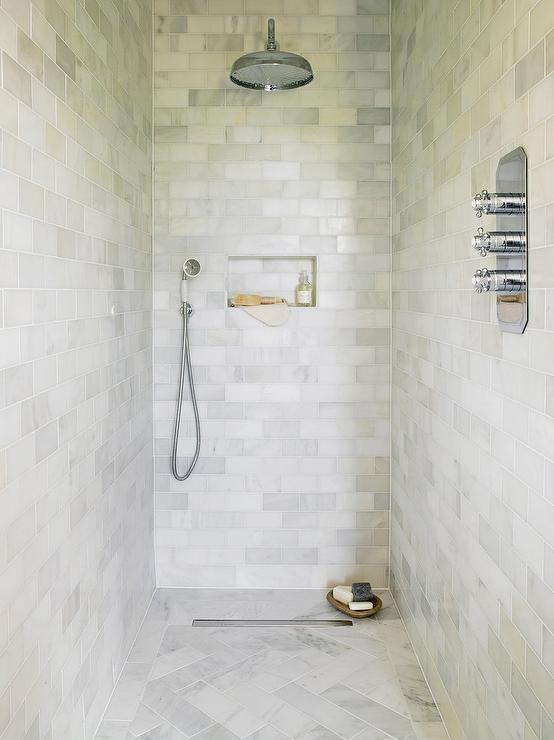 Marble Herringbone Shower Floor Tiles  Transitional