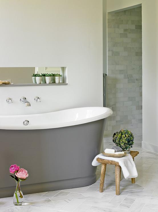Freestanding Gray Cast Iron Bathtub  Transitional  Bathroom
