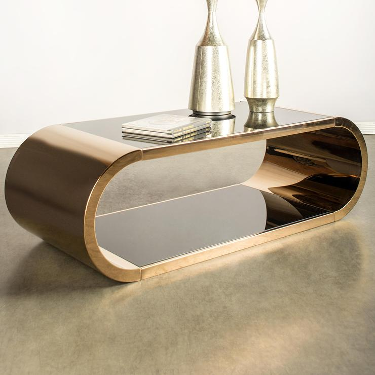 j pia gold mirrored curved coffee table