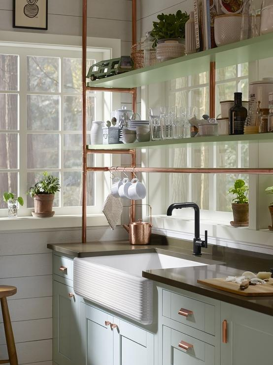 Light Blue Farmhouse Kitchen Cabinets with Copper Piping