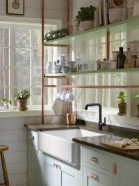 Light Blue Farmhouse Kitchen Cabinets with Copper Piping ...