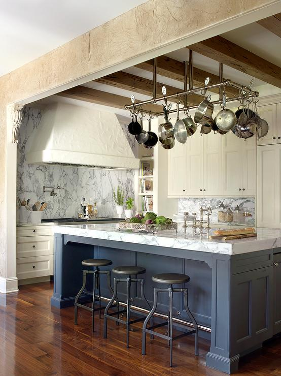 Ivory Kitchen Cabinets with Hidden TV  Transitional  Kitchen