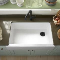 Blue Kitchen Sink Black Corner Cabinet For White Cabinets With Copper Hardware Design Ideas Beautiful Cottage Features A Kohler Farm Paired Oil Rubbed Bronze Faucet Mounted To Gray Quartz Countertop Accenting Light