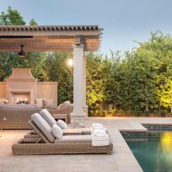 Wicker Outdoor Chairs Chair Cover Rentals Florence Sc Gray Pergola Over Fireplace - Transitional Pool