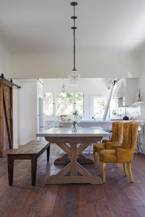 Trestle Dining Table With Jute Rope Globe Light Pendants