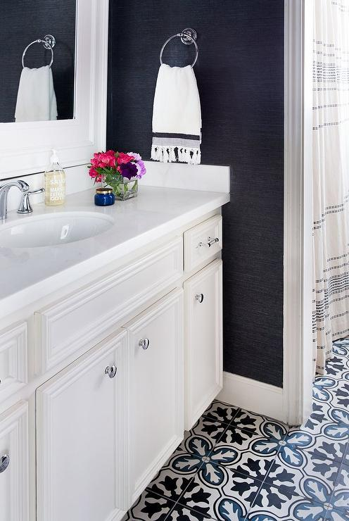 Black and White Bathroom with White Bamboo Mirror