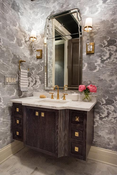 Marble and Polished Brass Washstand with Black Beaded Mirror  Transitional  Bathroom