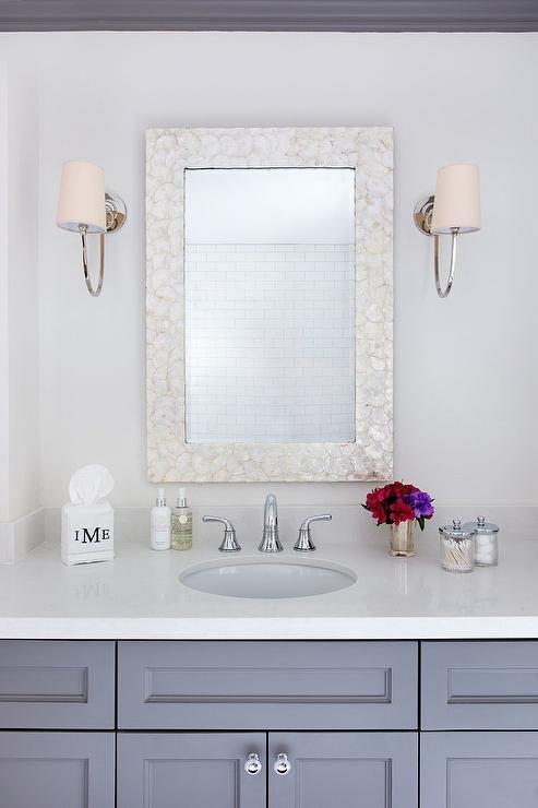 White Bamboo Trellis Mirror  Transitional  Bathroom