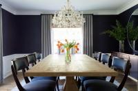 Round Brown Dining Table with Powder Blue Tufted Dining ...