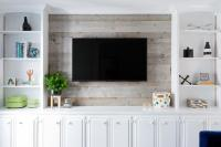 Television on Barn Board Wall - Transitional - Living Room