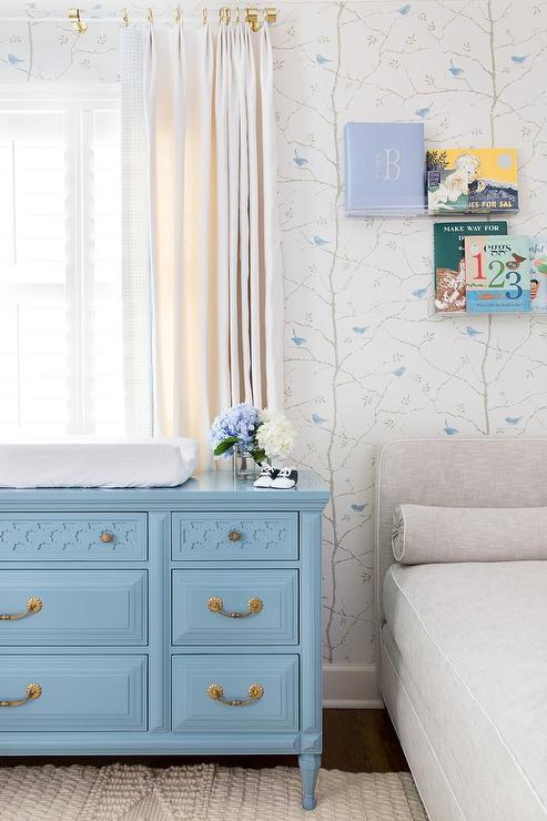Blue Vintage Dresser as Changing Table  Transitional  Nursery