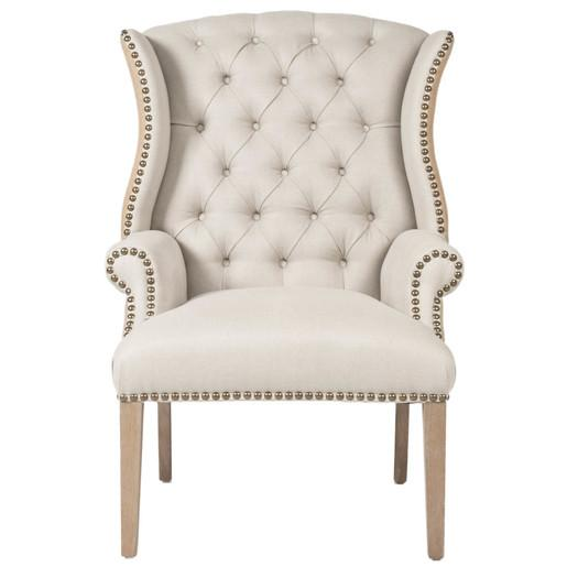 Deconstructed Ivory Burlap Tufted Roll Arm Chair