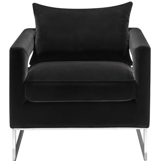Atara Sloped Black Velvet Gold Metal Chair
