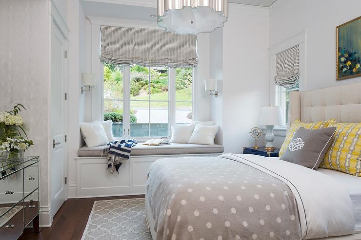 Bedroom Built In Window Seat Nook with Wainscoting