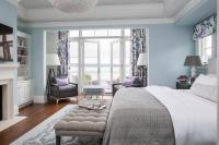 Purple and Gray Bedroom Sitting Area - Contemporary