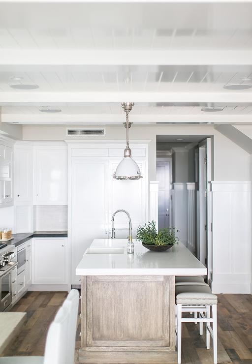 Beach Kitchen with Gray wash Wood Island  Cottage  Kitchen
