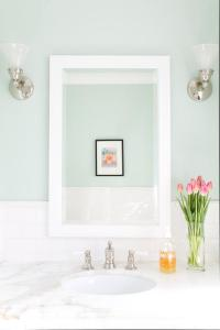 Mint Green Bathroom Walls with White Subway Tiles ...
