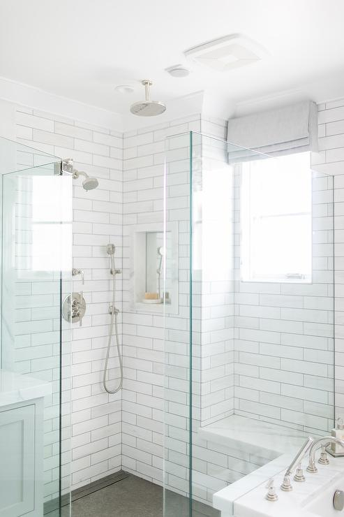 Linear White Marble Tiled Shower with Marble Slab Shower Bench  Transitional  Bathroom
