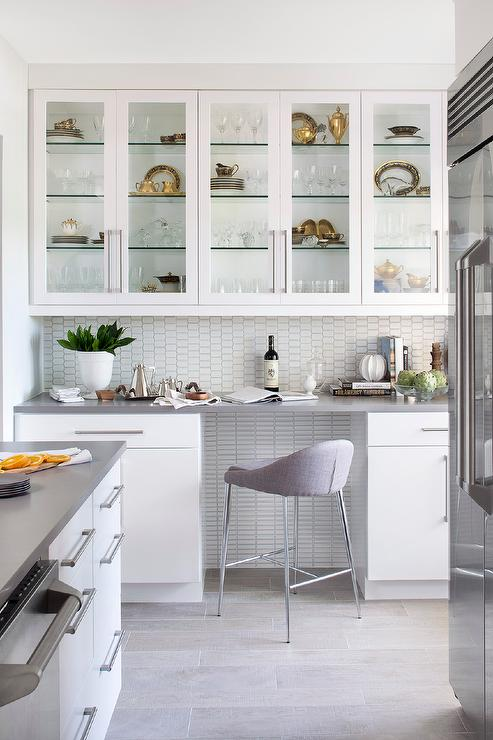 Contemporary Butler Pantry with Glass Front China Cabinets