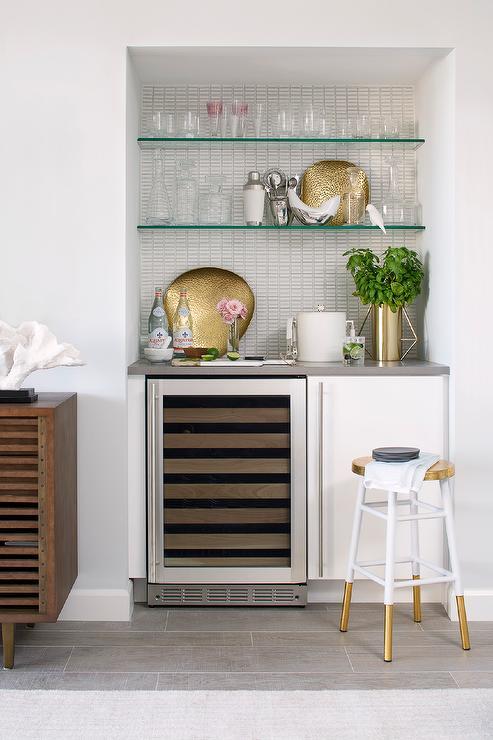 Dining Room Bar Nook with Glass Shelves  Contemporary