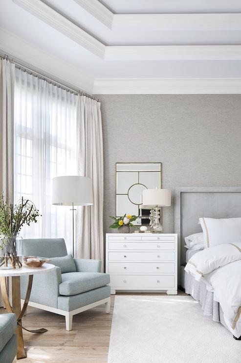 Dove Gray Velvet Tufted Bed With White And Gold Hotel Bedding Transitional Bedroom