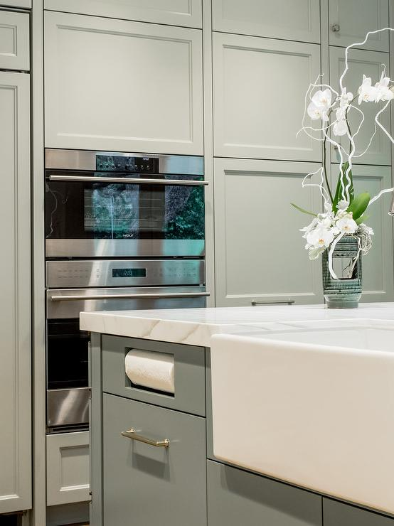Kitchen Pics With White Cabinets Island With Drop Down Paper Towel Holder - Contemporary