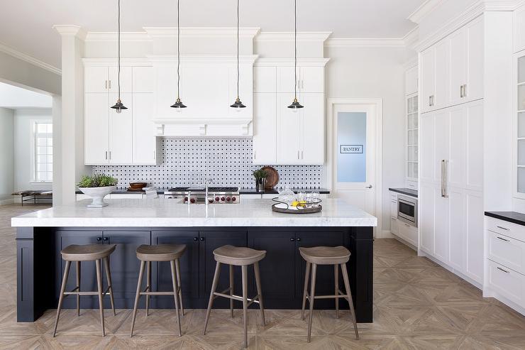 Black Kitchen Island with Gray Wash Wood Barstools