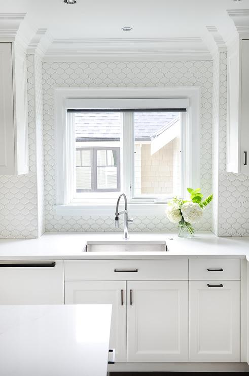 bronze kitchen faucet pull down acrylic cabinets white with all backsplash tiles ...