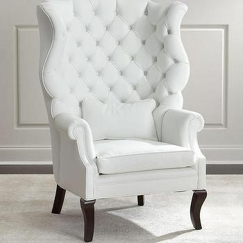 white leather wingback chair flip sofa sleeper hannah off wing pantages