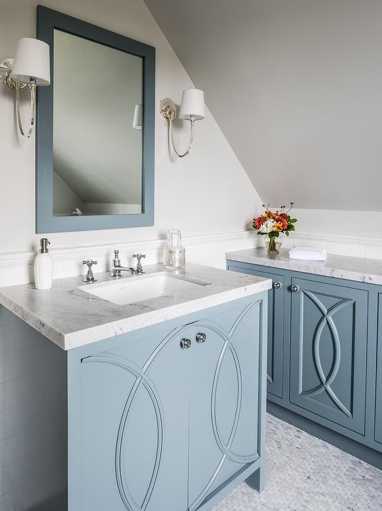 Blue Washstand with Eclipse Cabinet Doors  Transitional