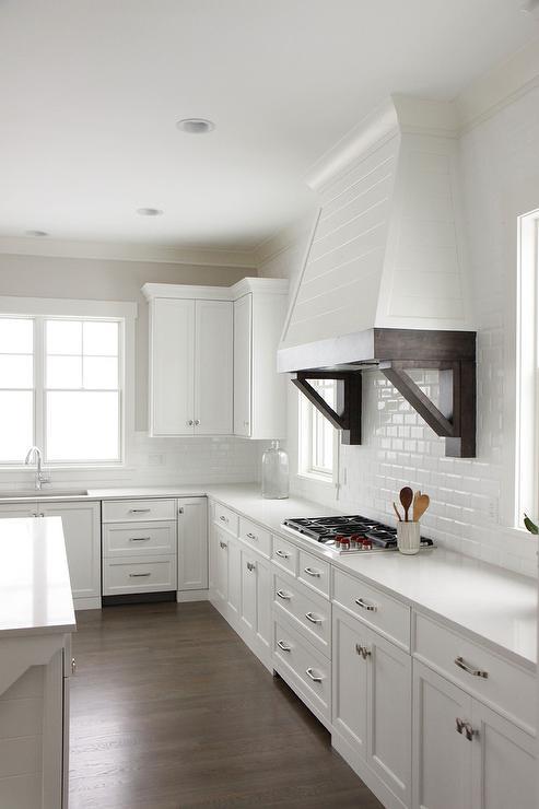 White Mini Beveled Subway Kitchen Tiles  Transitional