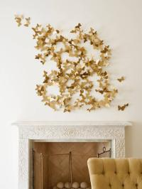 Gold Butterfly Art Over Ornate Fireplace - Transitional ...