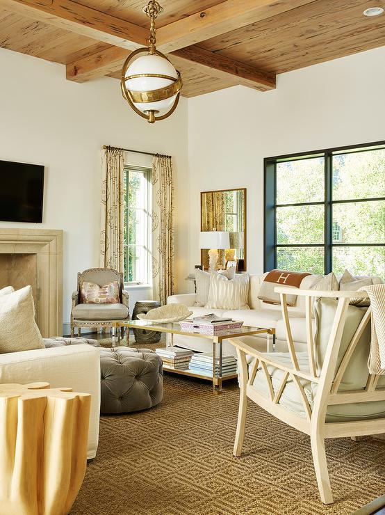 White Sofa with Orange Hermes Throw  Cottage  Living Room