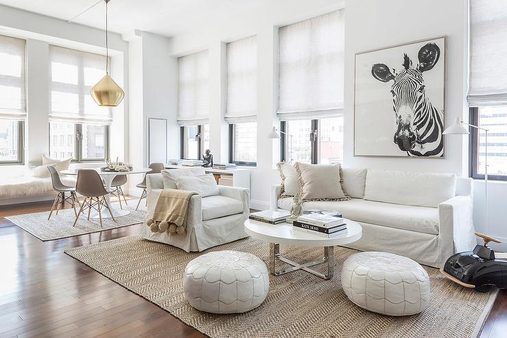 White Slipcovered Sofa with Jute Herringbone Rug