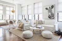 White Slipcovered Sofa with Jute Herringbone Rug ...