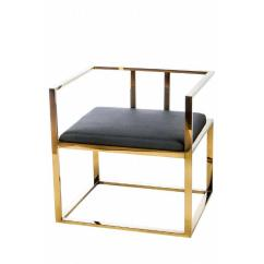 Steel Lounge Chair Pottery Barn Office Alaia Blacl Gold