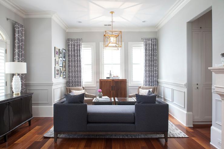 Navy Blue Tete a Tete Sofa  Transitional  Living Room