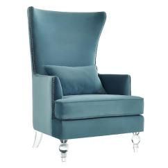 Tufted Wingback Dining Chair Banquet Covers In Hyderabad Evelyn Light Blue Barrel