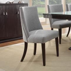 Gray Upholstered Dining Chairs Black Skull Chair Darlene Grey Nailhead