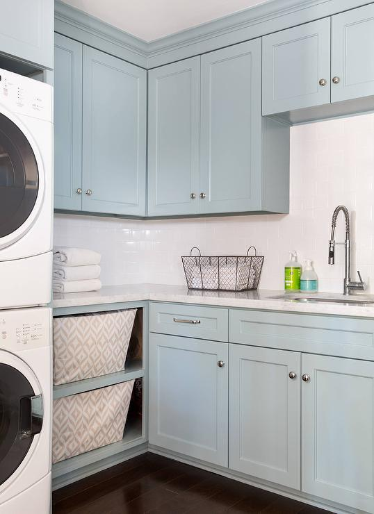 Blue Laundry Room Cabinets with Carrera Marble