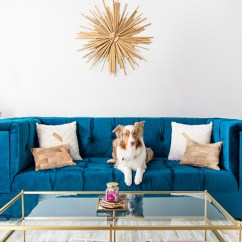 Tufted Turquoise Sofa Fabric Recliner Sets Uk Gold Sunburst Mirror Over A Sapphire Blue Velvet ...