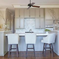 Kitchen Ceiling Fan Remodel Photos Design Ideas A Hangs Over Gray Island With End Cabinets Topped White Marble Lined Leather Barstools