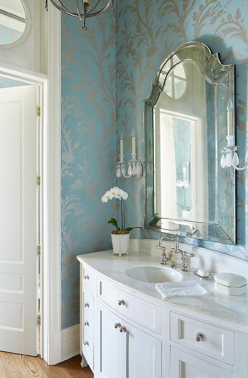 Silver and Blue Powder Room Wallpaper  Transitional