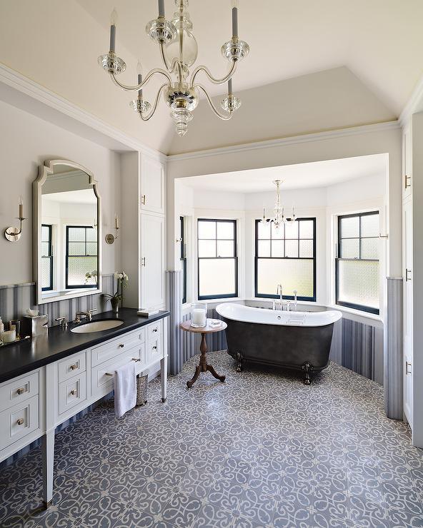 Black Claw Foot Bathtub in Bay Window  Transitional  Bathroom