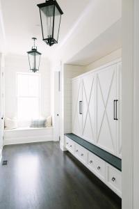 Long Mudroom with Seeded Glass Lanterns - Transitional ...