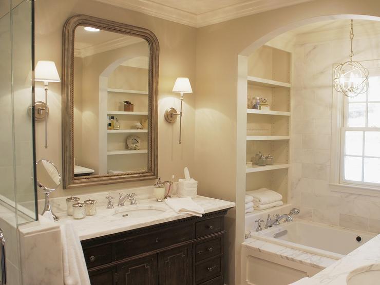 Arch Bathtub Alcove with Modular Shelves  Traditional