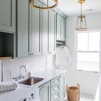 marble tile laundry room floor design ideas